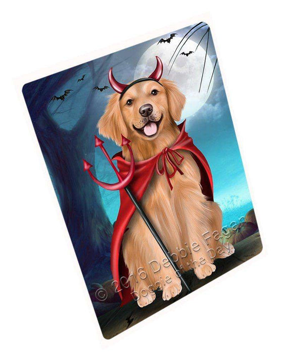 Happy Halloween Trick or Treat Golden Retriever Dog Devil Large Refrigerator / Dishwasher Magnet