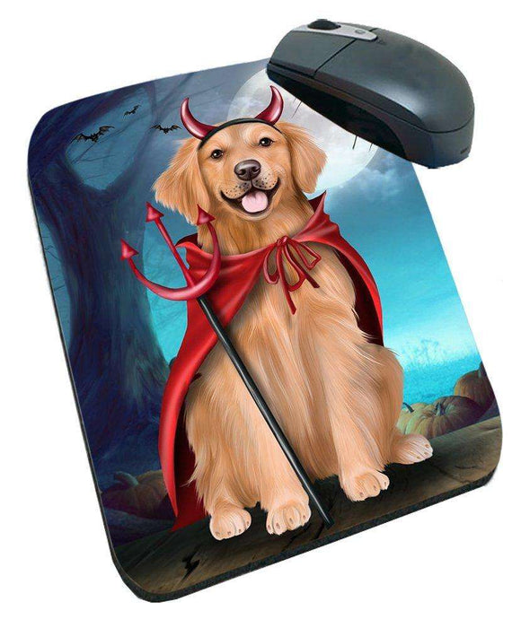Happy Halloween Trick or Treat Golden Retriever Dog Devil Mousepad