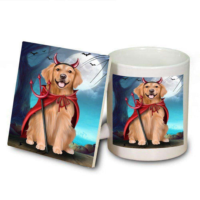 Happy Halloween Trick or Treat Golden Retriever Dog Devil Mug and Coaster Set