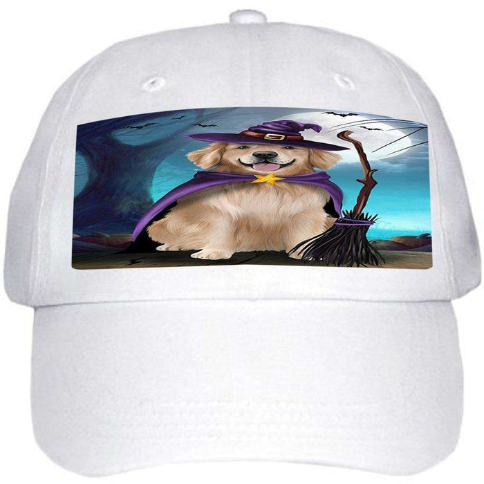 Happy Halloween Trick or Treat Golden Retriever Dog Witch Ball Hat Cap