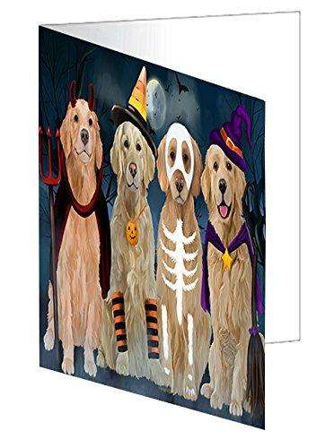 Happy Halloween Trick or Treat Golden Retrievers Dog in Costumes Greeting Card