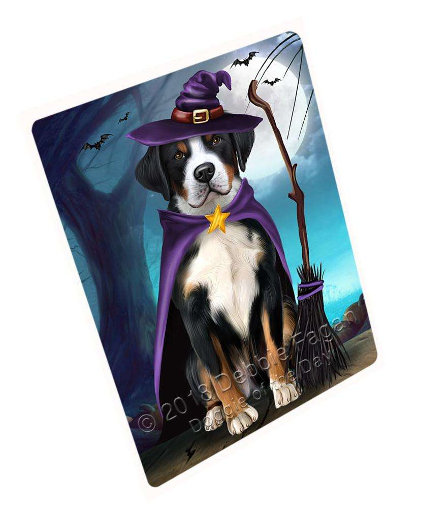 "Happy Halloween Trick Or Treat Greater Swiss Mountain Dog Witch Magnet Small (5.5"" x 4.25"") mag61785"