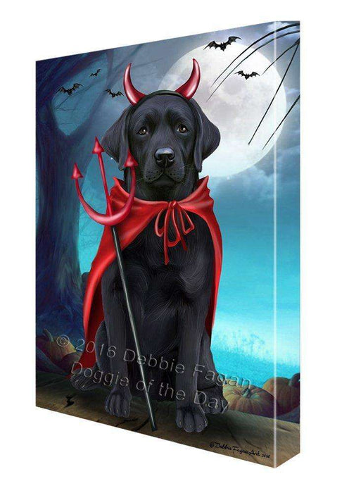 Happy Halloween Trick or Treat Labrador Retriever Dog Devil Canvas Wall Art