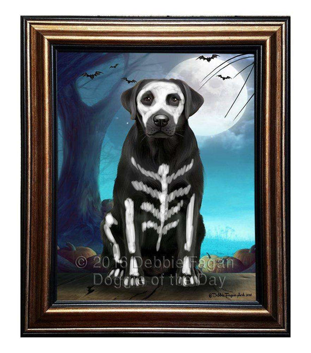 Happy Halloween Trick or Treat Labrador Retriever Dog Skeleton Framed Canvas Print Wall Art