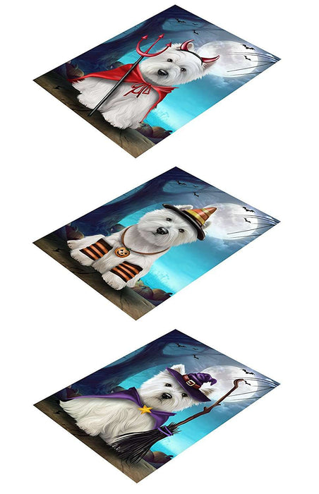 Happy Halloween Trick or Treat Magnets West Highland White Terrier Dog Set of 3
