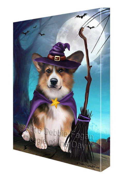 Happy Halloween Trick or Treat Pembroke Welsh Corgi Dog Witch Canvas Wall Art