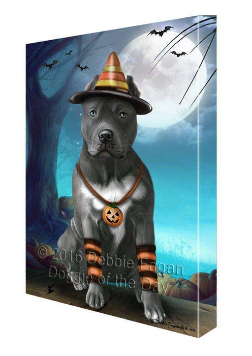 Happy Halloween Trick or Treat Pit Bull Dog Candy Corn Canvas Wall Art