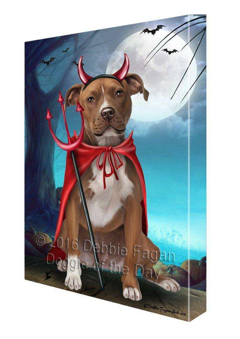Happy Halloween Trick or Treat Pit Bull Dog Devil Canvas Wall Art