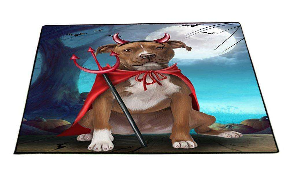 Happy Halloween Trick or Treat Pit Bull Dog Devil Indoor/Outdoor Floormat