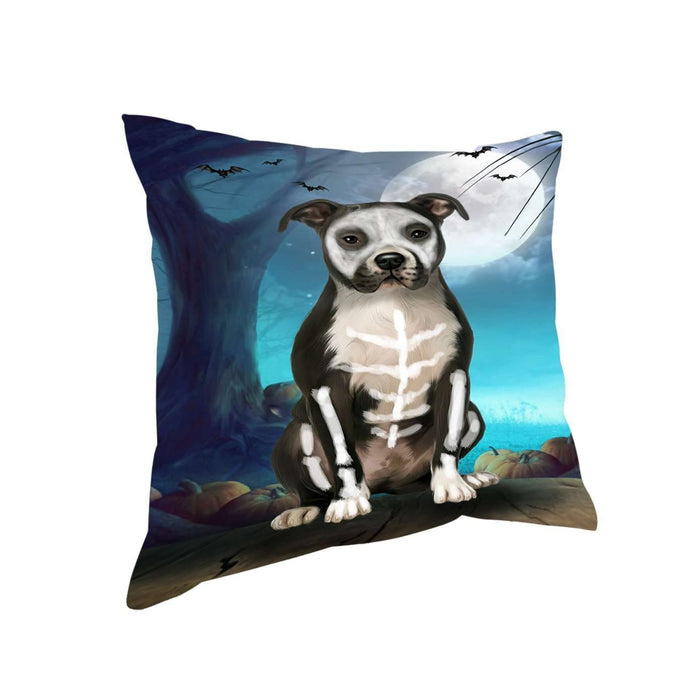 Happy Halloween Trick or Treat Pit Bull Dog Skeleton Throw Pillow