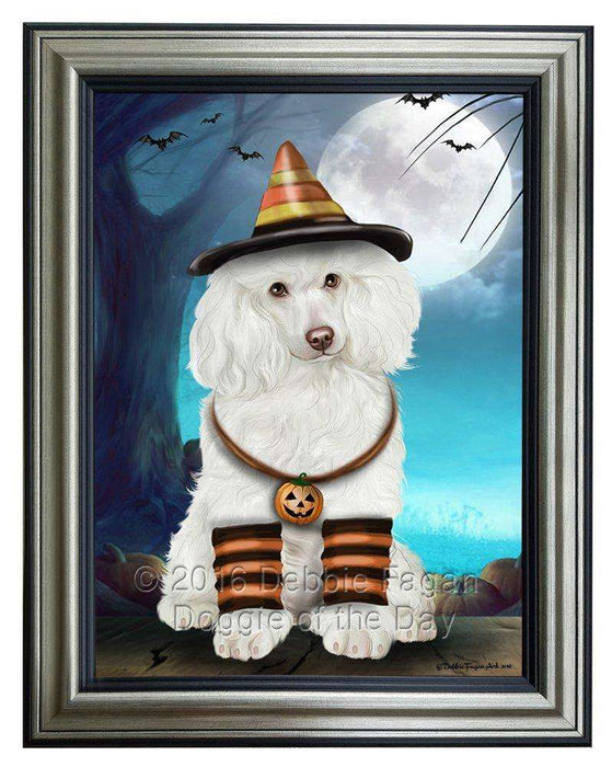 Happy Halloween Trick or Treat Poodle Corgi Dog Candy Corn Framed Canvas Print Wall Art