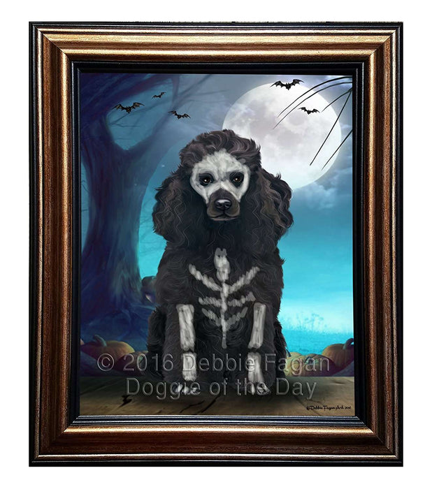Happy Halloween Trick or Treat Poodle Corgi Dog Skeleton Framed Canvas Print Wall Art