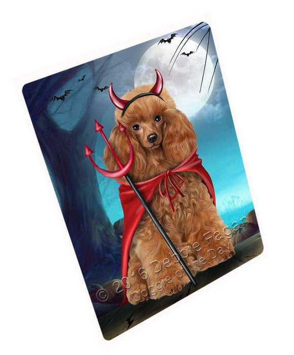 Happy Halloween Trick or Treat Poodle Dog Devil Art Portrait Print Woven Throw Sherpa Plush Fleece Blanket