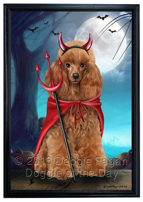 Happy Halloween Trick or Treat Poodle Dog Devil Framed Canvas Print Wall Art