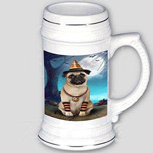 Happy Halloween Trick or Treat Pug Dog Candy Corn Beer Stein