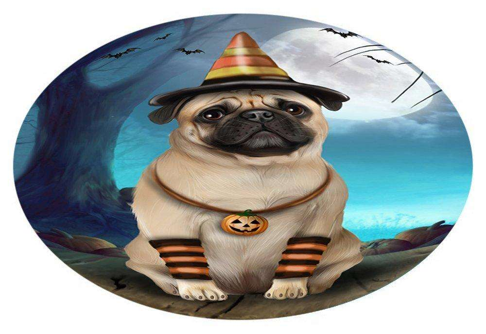 Happy Halloween Trick or Treat Pug Dog Candy Corn Oval Envelope Seals