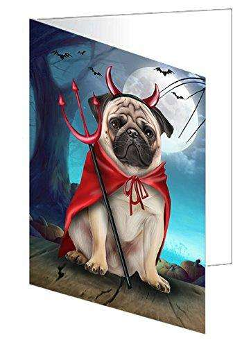 Happy Halloween Trick or Treat Pug Dog Devil Note Card