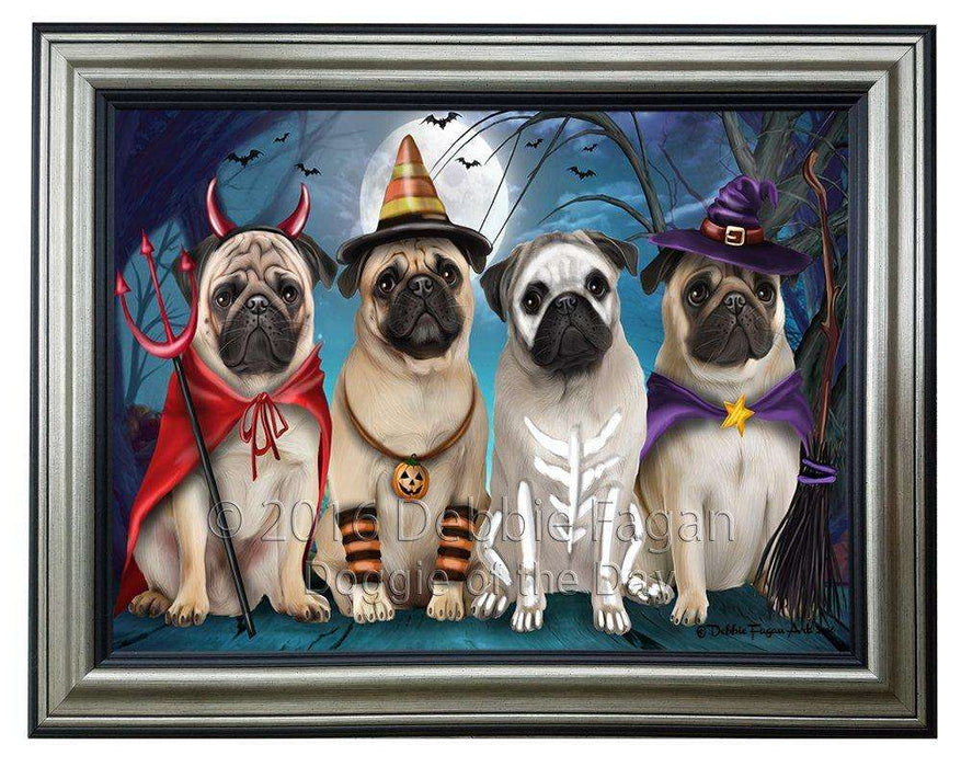 Happy Halloween Trick or Treat Pug Dog Framed Canvas Print Wall Art