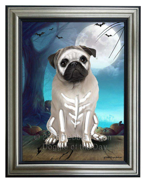 Happy Halloween Trick or Treat Pug Dog Skeleton Framed Canvas Print Wall Art
