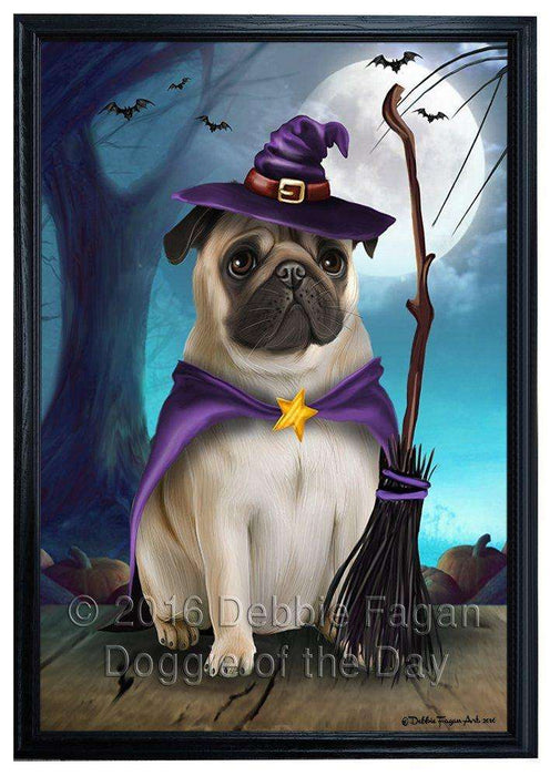 Happy Halloween Trick or Treat Pug Dog Witch Framed Canvas Print Wall Art