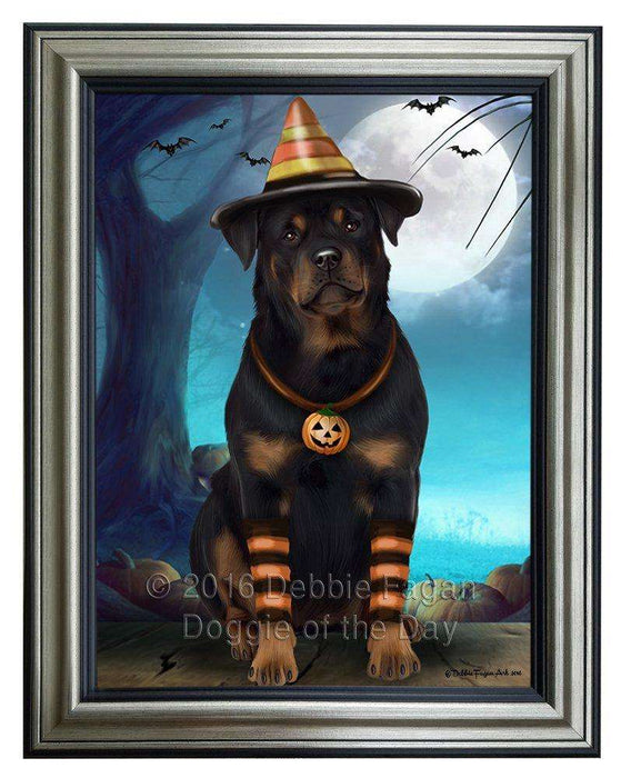 Happy Halloween Trick or Treat Rottweiler Dog Candy Corn Framed Canvas Print Wall Art