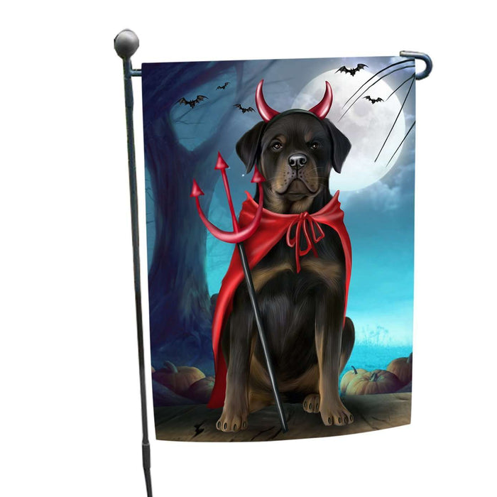 Happy Halloween Trick or Treat Rottweiler Dog Devil Garden Flag