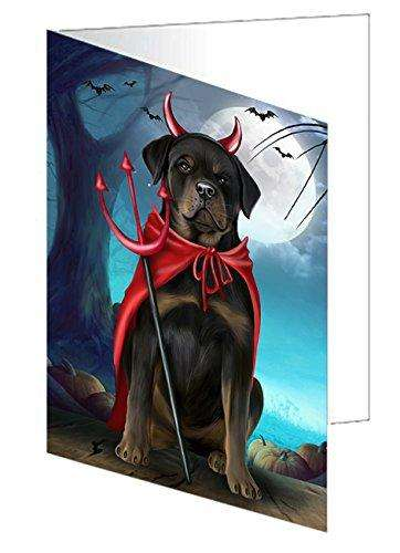 Happy Halloween Trick or Treat Rottweiler Dog Devil Note Card