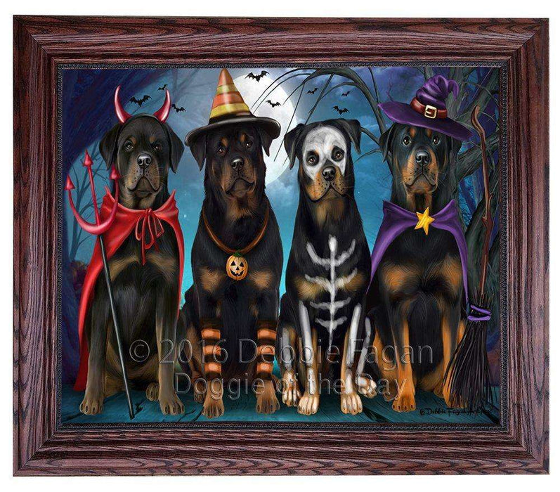 Happy Halloween Trick or Treat Rottweiler Dog Framed Canvas Print Wall Art