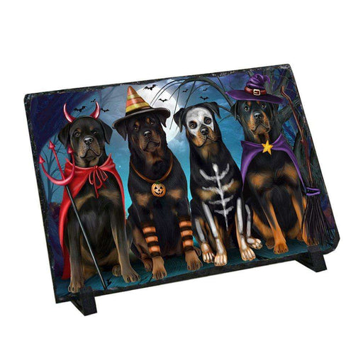 Happy Halloween Trick or Treat Rottweiler Dog Photo Slate