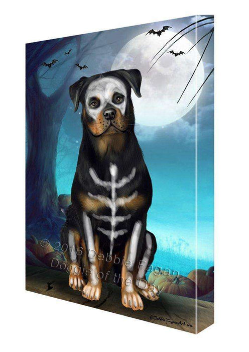 Happy Halloween Trick or Treat Rottweiler Dog Skeleton Canvas Wall Art