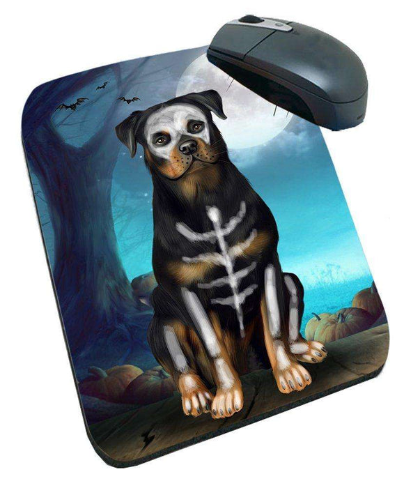 Happy Halloween Trick or Treat Rottweiler Dog Skeleton Mousepad