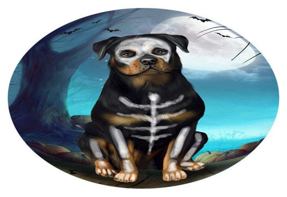 Happy Halloween Trick or Treat Rottweiler Dog Skeleton Oval Envelope Seals