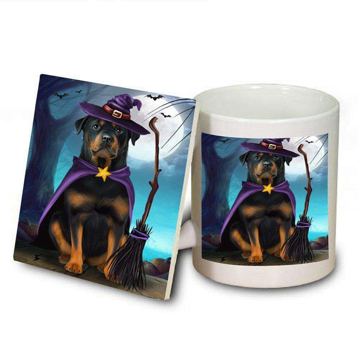 Happy Halloween Trick or Treat Rottweiler Dog Witch Mug and Coaster Set