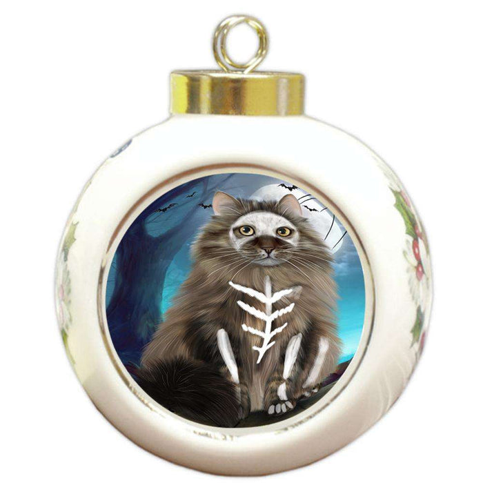Happy Halloween Trick or Treat Siberian Cat Round Ball Christmas Ornament RBPOR54658