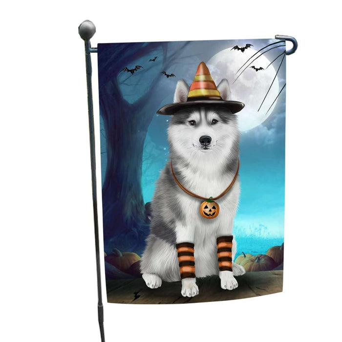 Happy Halloween Trick or Treat Siberian Huskies Dog Candy Corn Garden Flag