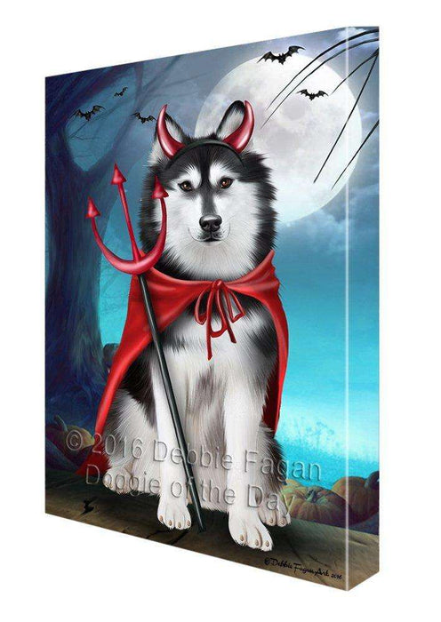 Happy Halloween Trick or Treat Siberian Huskies Dog Devil Canvas Wall Art