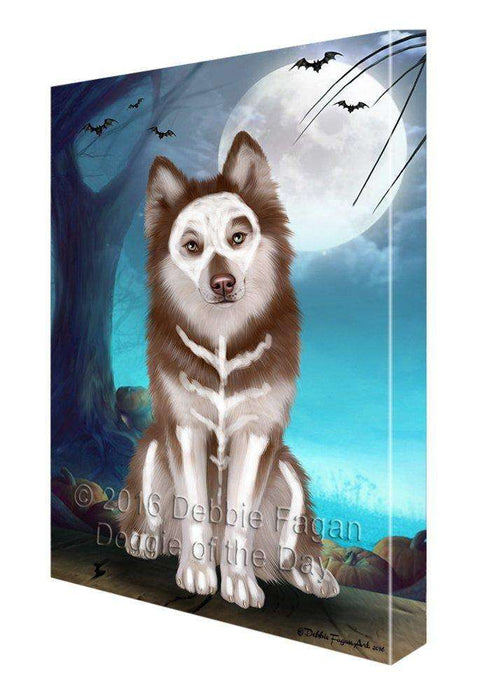 Happy Halloween Trick or Treat Siberian Huskies Dog Skeleton Canvas Wall Art