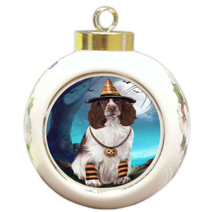 Happy Halloween Trick or Treat Springer Spaniel Dog Round Ball Christmas Ornament RBPOR54661