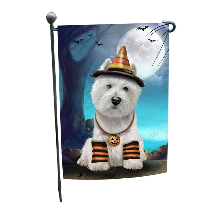 Happy Halloween Trick or Treat West Highland White Terrier Dog Candy Corn Garden Flag