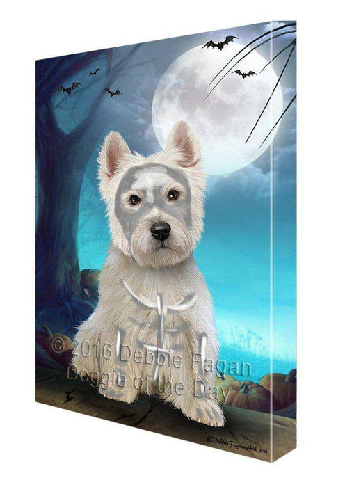 Happy Halloween Trick or Treat West Highland White Terrier Dog Skeleton Canvas Wall Art