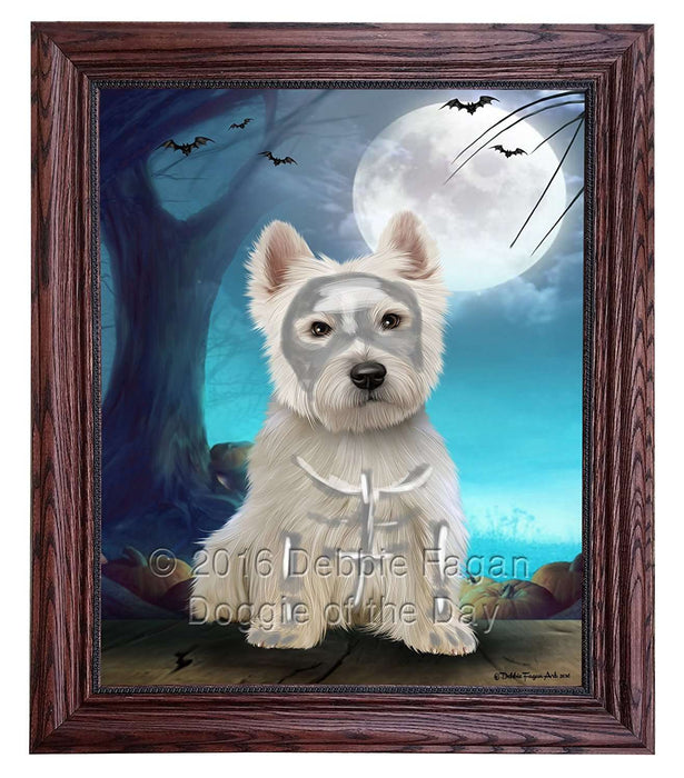 Happy Halloween Trick or Treat West Highland White Terrier Dog Skeleton Framed Canvas Print Wall Art