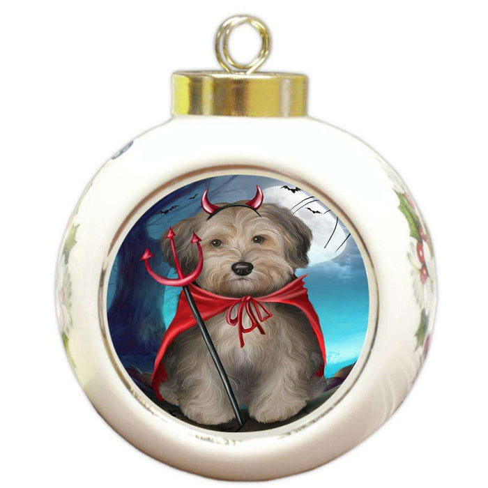 Happy Halloween Trick or Treat Yorkipoo Dog Round Ball Christmas Ornament RBPOR54672