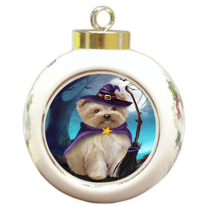 Happy Halloween Trick or Treat Yorkipoo Dog Round Ball Christmas Ornament RBPOR54675