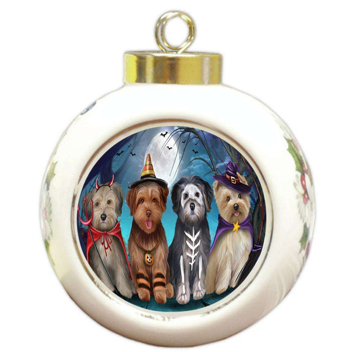 Happy Halloween Trick or Treat Yorkipoos Dog Round Ball Christmas Ornament RBPOR54618
