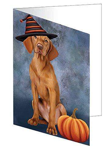 Happy Halloween Vizsla Dog Wearing Witch Hat with Pumpkin Note Card