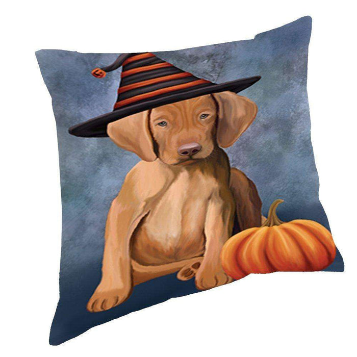 Happy Halloween Vizsla Puppy Dog Wearing Witch Hat with Pumpkin Throw Pillow D219