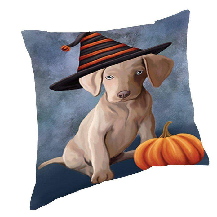 Happy Halloween Weimaraner Puppy Dog Wearing Witch Hat with Pumpkin Throw Pillow D224