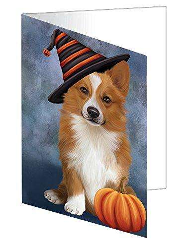 Happy Halloween Welsh Corgi Dog Wearing Witch Hat with Pumpkin Greeting Card D153
