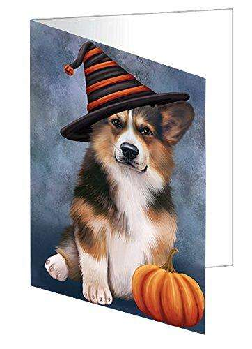 Happy Halloween Welsh Corgi Dog Wearing Witch Hat with Pumpkin Greeting Card D159