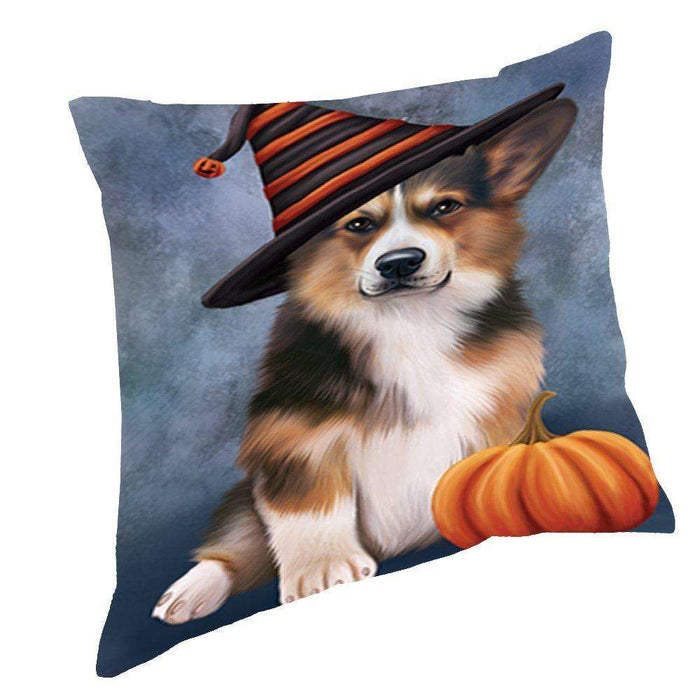 Happy Halloween Welsh Corgi Dog Wearing Witch Hat with Pumpkin Throw Pillow D231